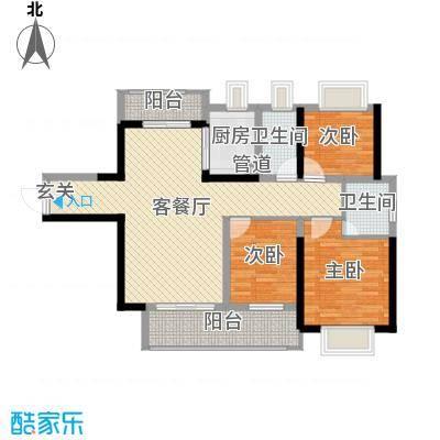 壹号公馆105.00㎡2栋1单元05户型3室3厅2卫1厨
