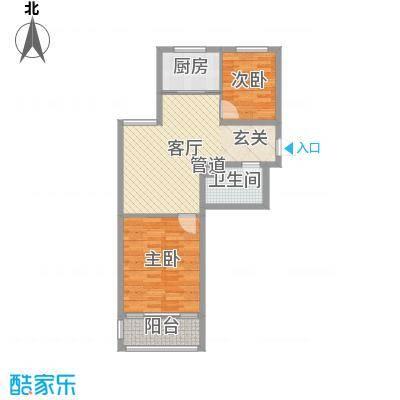 隆苑丽舍74.70㎡二期多层E户型2室2厅1卫1厨