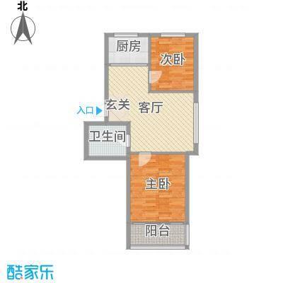 隆苑丽舍73.35㎡二期多层C户型2室2厅2卫1厨