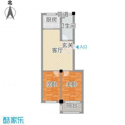 隆苑丽舍68.13㎡二期多层A户型2室2厅1卫1厨