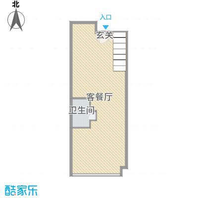 海唐广场100.00㎡2#住宅标准层A2一层平面户型2室2厅2卫1厨
