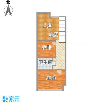 海唐广场100.00㎡2#住宅标准层A2二层平面户型2室2厅2卫1厨