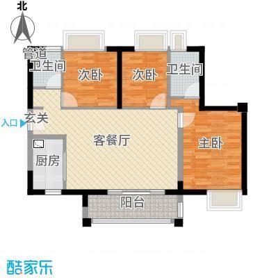 佛山时代廊桥98.00㎡1座1单元户型3室3厅2卫1厨