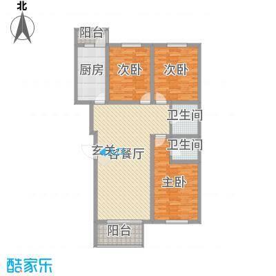 珑庭园中苑120.08㎡标准层户型3室3厅2卫1厨
