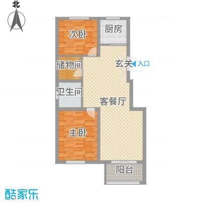 珑庭园中苑93.41㎡5#和7#跃层户型2室2厅1卫1厨