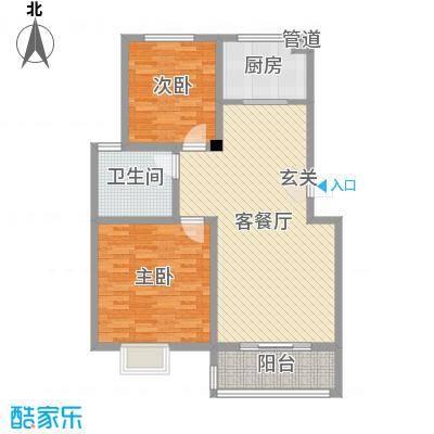 锦城丽景99.11㎡B户型2室2厅1卫1厨