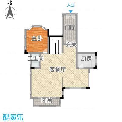 华侨花园333.20㎡J1二层户型1室1厅1卫1厨