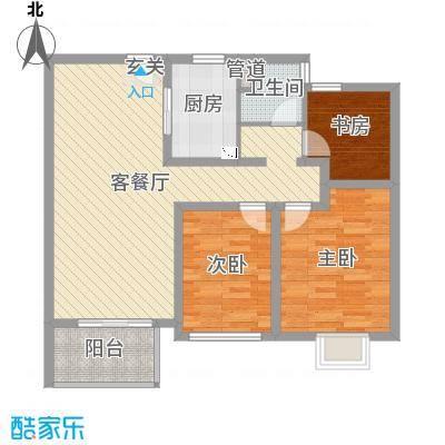 苏宁雅居90.00㎡一期24-25、34-39#标准层F6户型3室3厅1卫1厨