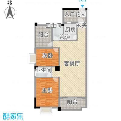 锦隆花园二期114.39㎡12座3-15层06单位户型2室2厅2卫1厨