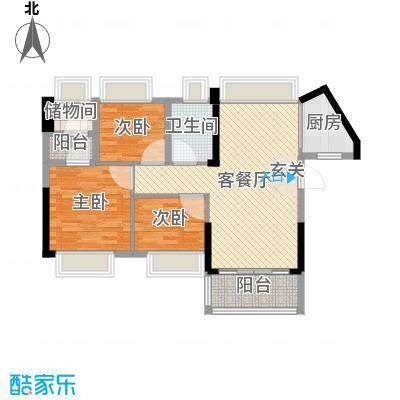 万荟时代84.48㎡2栋01单元户型3室3厅1卫1厨