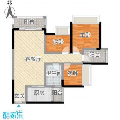 万荟时代88.45㎡2栋02单元户型3室3厅1卫1厨