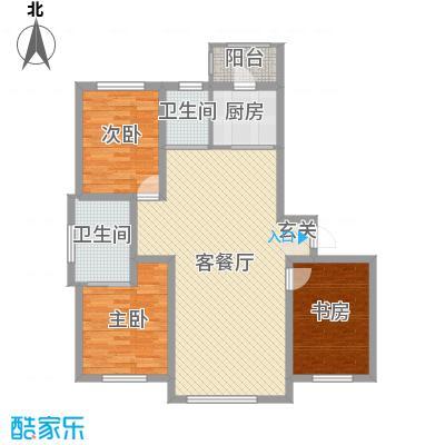 卓扬中华城122.00㎡8号楼A户型3室3厅2卫1厨