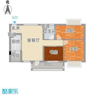 鸣翠花园四期85.69㎡E1/E2栋06户型3室3厅1卫1厨