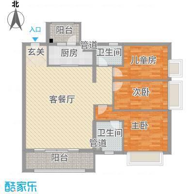 鸣翠花园四期113.71㎡E1/E2栋01户型3室3厅2卫1厨