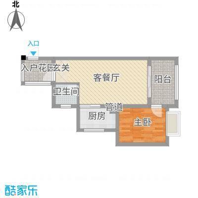 海南东方锦绣蓝湾57.37㎡C栋户型2室2厅1卫1厨