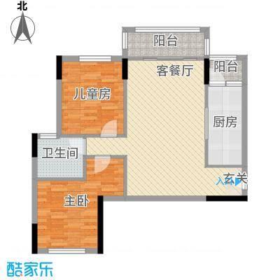 碧桂园城市花园89.82㎡16#标准层F1户型2室2厅1卫1厨
