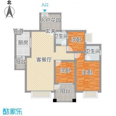 阳光新城121.61㎡T5户型3室3厅2卫1厨