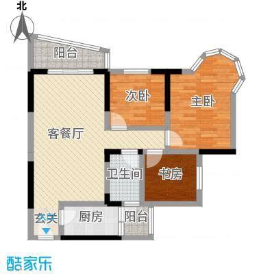 凯信水韵滨江二期公园大帝97.50㎡E户型3室3厅1卫1厨