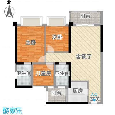 顺德碧桂园95.00㎡3-4座03、04单元户型3室3厅2卫1厨