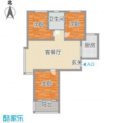 京海铭筑105.44㎡6#标准层B1户型3室3厅1卫1厨