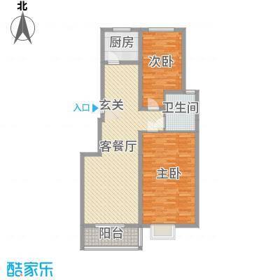 京海铭筑104.98㎡5#标准层C4户型2室2厅1卫1厨