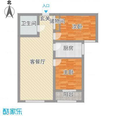 泰安盛世89.00㎡高层标准层T户型2室2厅1卫