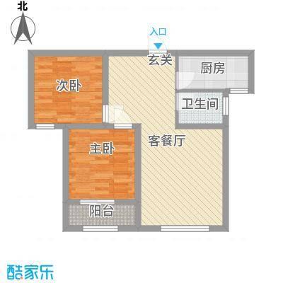 泰安盛世77.00㎡高层标准层O户型2室2厅1卫