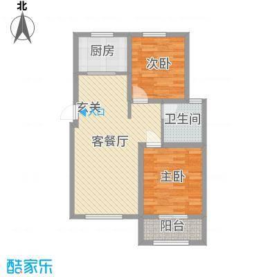 泰安盛世85.00㎡高层标准层M户型2室2厅1卫