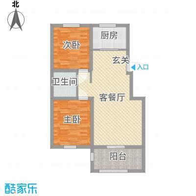 泰安盛世90.00㎡洋房三层F户型2室2厅1卫