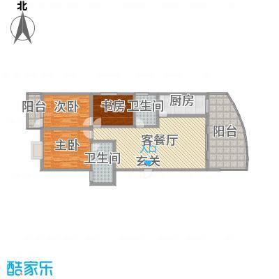 宏明大厦131.08㎡项目G2户型3室3厅2卫1厨