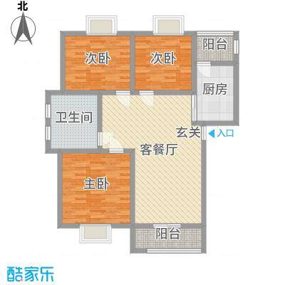 香山听语二期108.70㎡9#C户型3室3厅1卫1厨