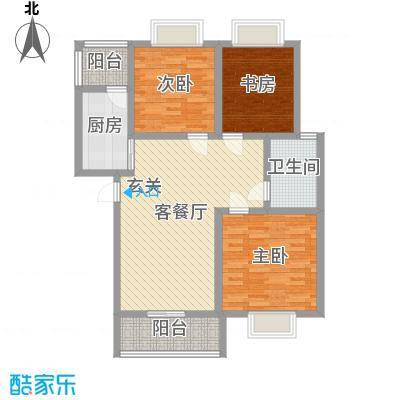 香山听语二期103.90㎡9#B户型3室3厅1卫1厨