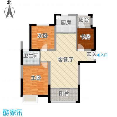 郑西鑫苑名家96.84㎡一期C1-1户型3室3厅1卫1厨