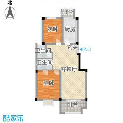 爱伦堡89.00㎡小高层H1户型2室2厅2卫1厨