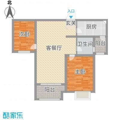 郑西鑫苑名家84.20㎡16号楼B2-2户型2室2厅1卫1厨