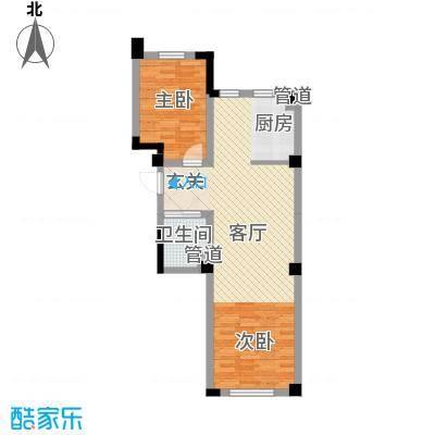 上东城市之光80.12㎡三期高层J户型2室2厅1卫1厨