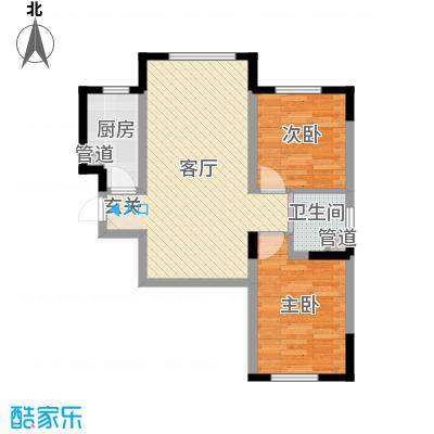 香水湾二期81.47㎡4、5、7号楼C户型2室2厅1卫1厨