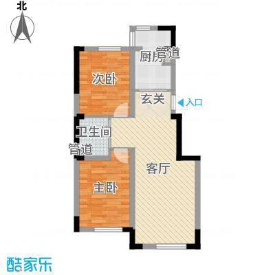 香水湾二期78.69㎡1、2、3号楼D户型2室2厅1卫1厨