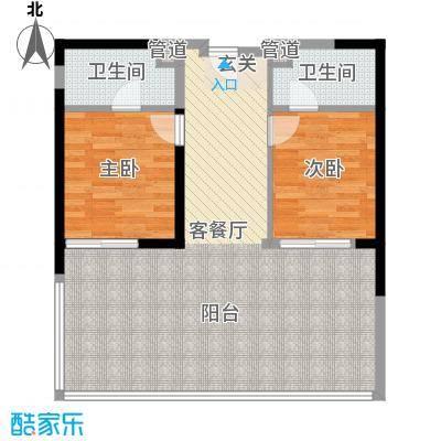 万科双月湾78.00㎡高层B户型2室2厅2卫