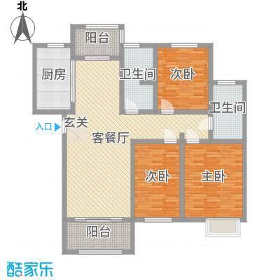 九华学府128.00㎡二期7#楼标准层A1户型3室3厅2卫1厨