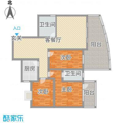 宏明大厦153.01㎡项目A户型3室3厅2卫1厨