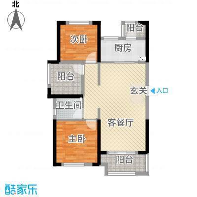 龙湖湘风星城88.49㎡一期F2户型2室2厅1卫1厨