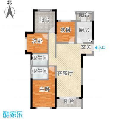 龙湖湘风星城113.34㎡一期E2户型3室3厅2卫1厨
