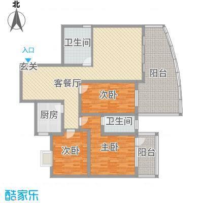 宏明大厦134.19㎡项目A2户型3室3厅2卫1厨