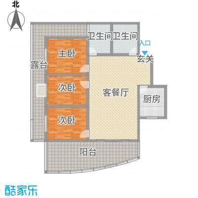 宏明大厦154.41㎡项目B1户型3室3厅2卫1厨