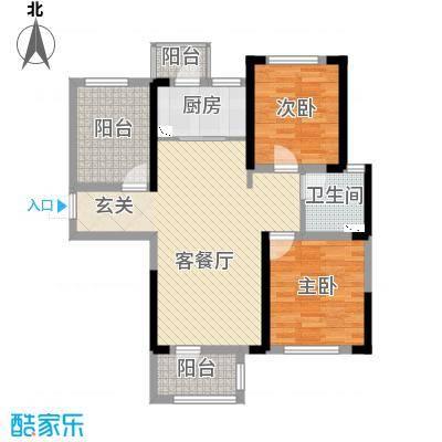 龙湖湘风星城91.63㎡一期F3户型2室2厅1卫1厨