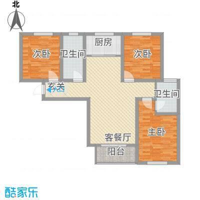 学府名城126.14㎡2#标准层C户型3室3厅2卫1厨