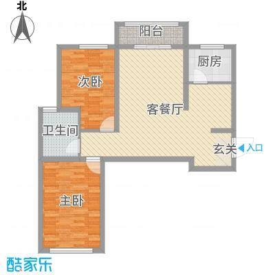书芳苑小区89.61㎡E22居户型2室2厅1卫1厨