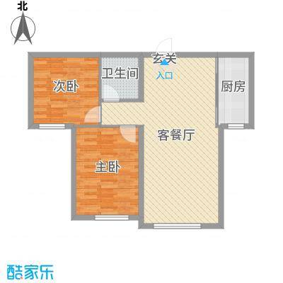 乾瑞・嘉山墅86.91㎡B1#B2户型2室2厅1卫1厨