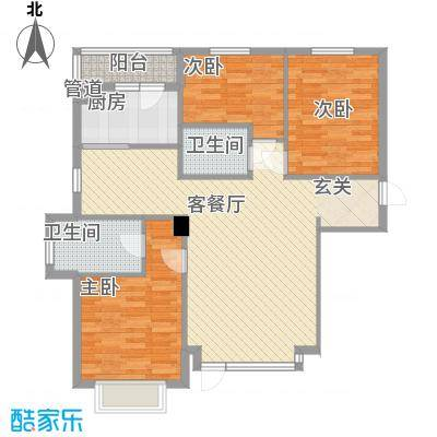 怡水湾12.00㎡D2户型3室2厅2卫1厨-副本